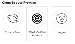 Seals indicating product is vegan, EWG Verified, and Cruelty Free