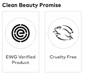 Seals indicating product is EWG verified and Cruelty Free
